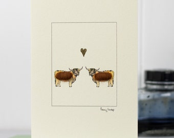 Highland Cows in Love Card, fluffy cows greeting card, Valentine's Day, Wedding card, anniversary card with Highland Cattle