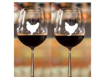 Crazy Chicken Lady~ Etched Wine Glasses~ Chicken Kitchen~ Chicken Mug~ Chicken Glasses~ Chicken Lover Gift~ Chicken Wine Glasses