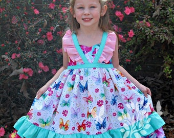Girls Easter Dress- Toddler Girls Easter Dress- Butterfly Dress- Shabby Chic Dress- Floral Dress- Size 6m, 12m, 18m, 2t, 3t, 4t, 5, 6, 7, 8