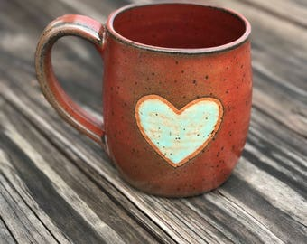 Quick ship: Red heart mug 14 oz