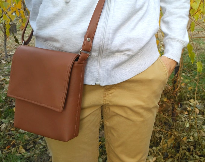 Brown bag Crossbody mini Vegan Leather Chocolate bag Messenger bag