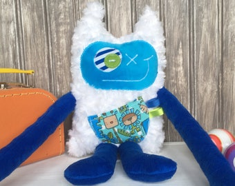 Hug Monster with ears, handmade plush , dark blue and turquoise bluewith animals pocket, friendly monster for child,unique gift, ready to go