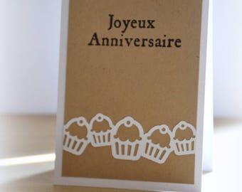 Birthday kraft card cake cupcakes man woman child