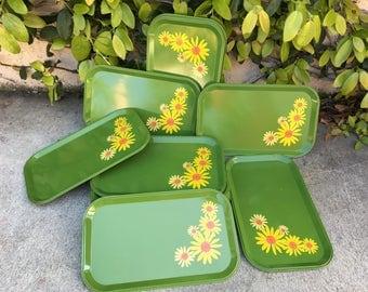 Vintage Metal Floral Trays Vintage Daisy Trays Vintage Green Metal Trays Vintage Floral Trays Vintage 70s Trays Set of Vintage Trays