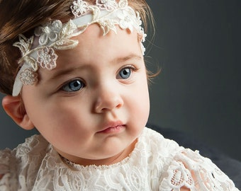 Flower Beaded Headband 'Lola', Baby Flower Headband