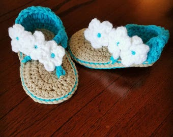 crochet baby sandles - crochet flowered sandles - baby shoes
