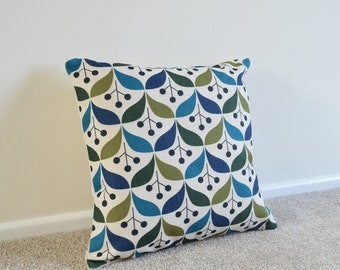 Green/Blue/Teal Scandinavian Cotton Linen Cushion/Pillow Cover in 18 x 18""