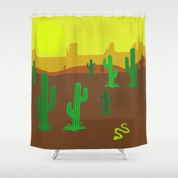 Items Similar To Desert Cactos Shower Curtain Brown And Yellow Kids Curtain Arizona Cactus Tex