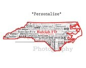 North Carolina State, Raleigh Fire Department, Personalize Print Gift, Word Art, Typography, NC Map, Firefighter, FD, Firefighter Art Print