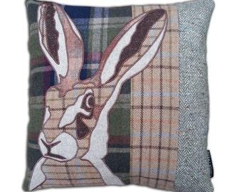Tweed tartan animal hare cushion