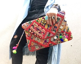 Banjara Bag, Indian Clutch, Hobo Bag, Banjara Clutch, Red Bag, Gypsy Clutch, Boho Clutch, Ethnic Tribal Clutch called Nova