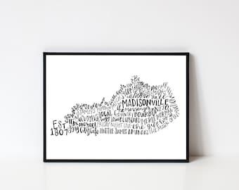 Hand lettered MADISONVILLE Kentucky Word Art Print // 8x10