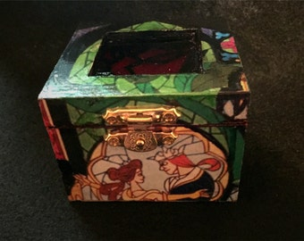 Beauty and the Beast Rose Stained Glass Inspired Proposal Engagement Ring Box Bearer Pillow Box