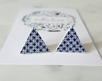 Navy blue and white wooden triangle earrings/ triangles/ wooden earrings/ blue and white/ triangle studs/