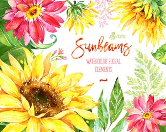 Sunbeams Elements. Watercolor floral clipart, sunflowers, gerbera, wedding, greeting card, diy, country, separate flowers, leaves, summer