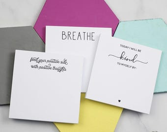 Sticky Notes Set - Today I Will Be Kind To Myself - Self Care - Stationery - Rememer - Mini Notepad -  Kindness - Self Care Gift