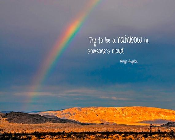 Quotation On Rainbow: Inspirational Quote Rainbow Photography Typography Print