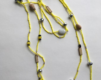Neon Yellow Beaded Layering Necklaces