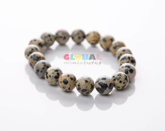 "7/16"" Dalmatian Stone Bead Bracelet"