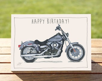 "Motorcycle Birthday Card - Harley Davidson Dyna Street Bob | A6 - 6"" x 4"" / 103mm x 147mm 