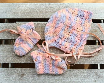 Peach, Pink and Lavender Varigated  Hand Crocheted Baby Hat and Booties Set 6-12 Month Size