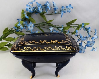 Gold Trimmed Cobalt Blue Footed Dresser Box