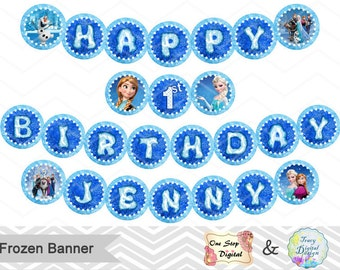 Instant Download Frozen Bunting, Printable Frozen Banner, Frozen Birthday Party Banner, Printable Frozen Princess Party Circle Banner, 00101