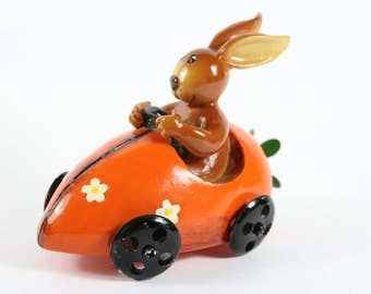 Hare in the car Handwork Hand painted from the 70s Made in Germany
