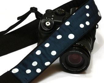 Polka Dot Camera Strap. White and Dark Blue Camera Strap. SLR, DSLR Camera Strap. Nikon Canon Camera Strap. Camera Accessories