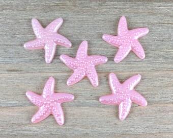 Pink Starfish Hair Bow Center, Light Pink Starfish cabochon, DIY Hair Bow Supplies, DIY Headband Center, Starfish Flatback