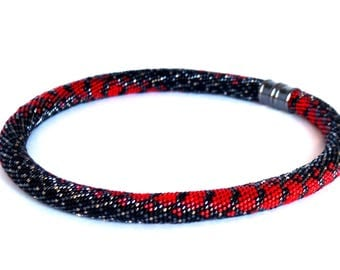 """Beaded Necklace - Beaded Crochet Necklace - Crocheted beaded necklaces - Bead Crochet Necklace """"Red snake"""""""