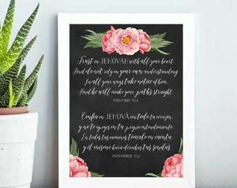 JW  Proverbs 3:5,6 | English and SPANISH | Jehovah | Art | Print | Printable | Decor | Pioneer | Gift | Present 0090