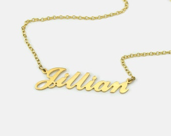 Valentines day gift for her, Carrie nameplate necklace, Custom Name Necklace, Personalized silver name plate Necklace gold Personalized gift