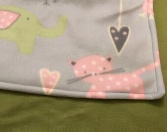 Hearts & Animals Fleece Baby Blanket