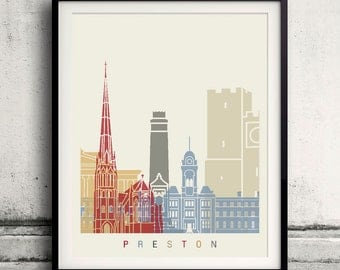 Preston skyline poster - Fine Art Print Landmarks skyline Poster Gift Illustration Artistic Colorful Landmarks - SKU 2334