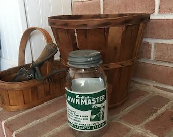 Vintage Glass Jar - Redimix Jar - Jar with Lid - Zinc Lid Jar - Lawn Chemical Jar - Lawnmaster Jar - Retro Glass Jar