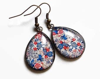 Blue Flower Earrings * Osaka * drops bronze liberty Japanese fabric flowers, glass cabochon