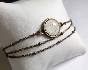 minimalist bracelet bronze 3 channels * Golden bubbles * modern style trend, cabochon glass