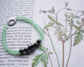 Mint - Green jade and Hematite Bracelet