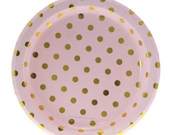 party plates pink gold party plates paper plate gold. Black Bedroom Furniture Sets. Home Design Ideas