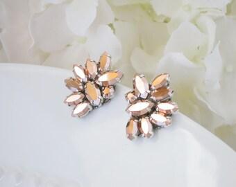Wedding earring, Rose Gold crystal post earring, Unique bridal earring, Swarovski rose gold marquise earring