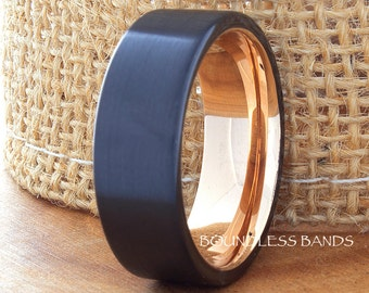Tungsten Wedding Bands Pipe Cut Black And Rose Comfort Fit Unisex Tungsten Ring Handmade His Hers Anniversary Engagement Promise 8mm Ring