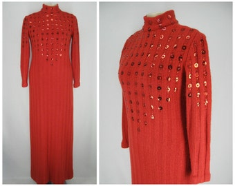 Vintage 70s Malcom Starr for Rizkallah dress, 70s sweater dress, vintage sweater dress, red holiday dress, sweater maxi dress