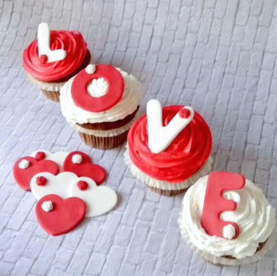 Wedding Cupcake Fondant Toppers Edible Wedding Cake Decor