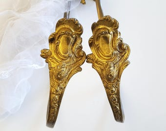 2 long antique curtain tie back hook, brass drapery holder, Rococo, French window accessories