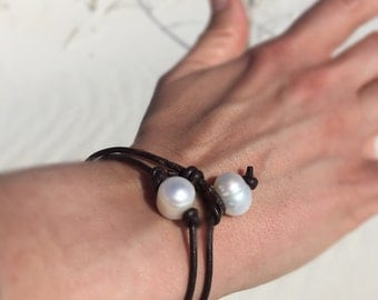 Boho Pearl and Leather Wrap Bracelet