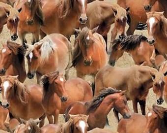 Greener Pastures Tan Packed Horses Fabric  / Wilmington Prints 1828  - 1 Yard Cuts, 1/2 Yard Cuts & Fat Quarters