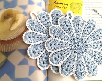 Crochet Potholders, Crocheted Potholders, Light Blue Potholders, Light Blue Hot Pad, Flower Potholders