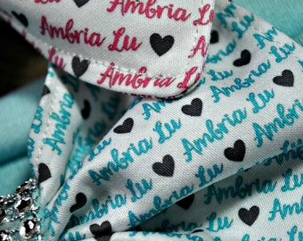 Personalized Bow, Personalized Baby Headband, Custom Name Bow, Custom Fabric Hairbow with Name, baby name headband, custom name Bow