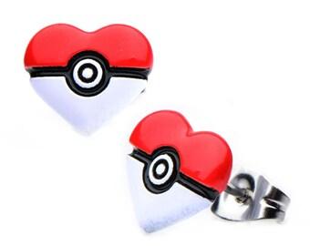 Pokemon Pokeball Heart Shape Enamel Stainless Steel Stud Earrings Costume Accessory